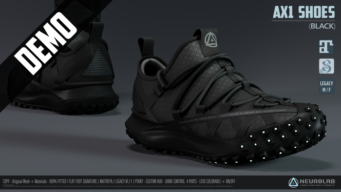 *DEMO* AX1 SNEAKERS BLACK (FITTED) [Neurolab Inc.]
