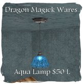 PROMO Dragon Magick Wares Aqua Glass Hanging Lamp