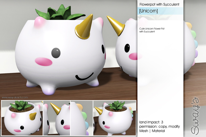Sway's [Unicorn] Flowerpot with Succulent