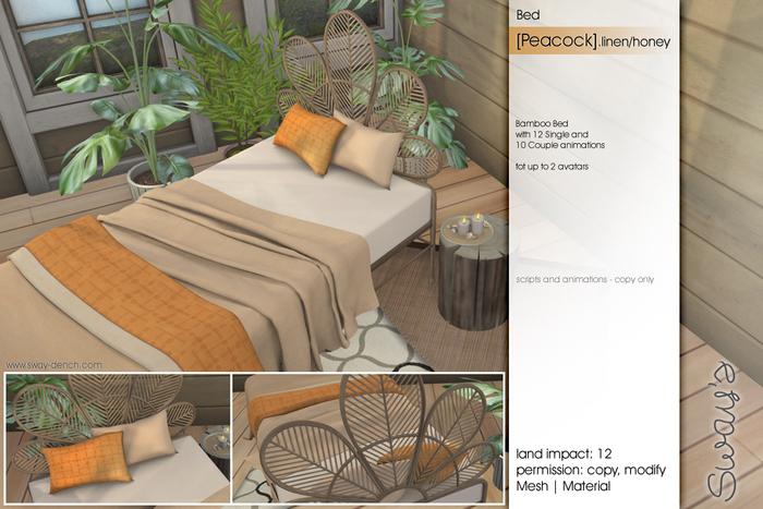 Sway's [Peacock] Bed . bamboo / linen-honey