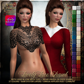 {AS} Lovely Lace Shawl & 2 Tops: Bakes on Mesh system layers; Omega applier HUD; FAT PACK; 37 colors