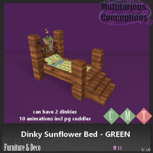 [MC] dinky sunflower bed GREEN  (wear to unpack)