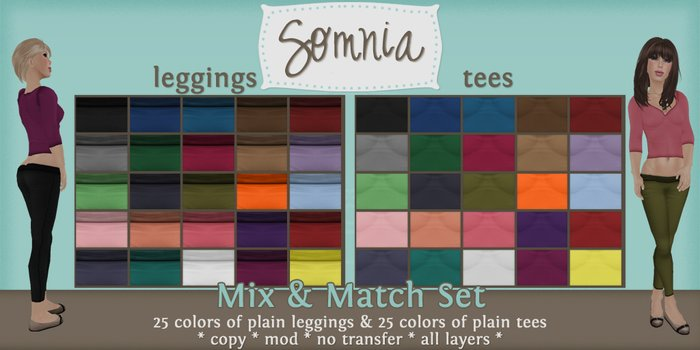 .: Somnia :. Mix & Match Plain Set {Tees & Leggings}
