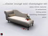 CHAISE LOUNGE and Champagne Set - MENU DRIVEN TEXTURES, 16 ANIMATIONS - Copy/Modify
