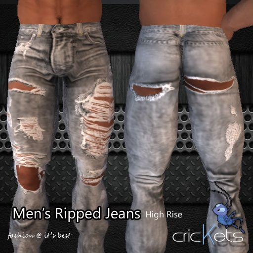"""Crickets """"Men's Ripped Jeans"""" High Rise"""