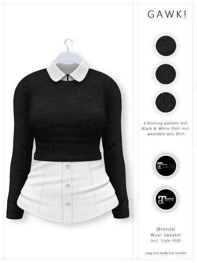 GAWK! .Brenda. Wool Sweater - Black   for Maitreya // Maitreya Petite