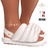 Queen Puff Terrycloth Puffy Slippers WHITE For Maitreya Slink & Kupra (Boxed)