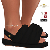 Queen Puff Terrycloth Puffy Slippers BLACK For Maitreya Slink & Kupra (Boxed)