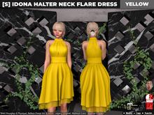[S] Idona Halter Neck Flare Dress Yellow