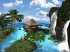 Eastern waterfall SKYBOX nature paradise with sculpted hut - Skysphere 60m - 124 prims