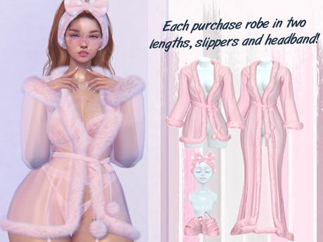 Lunar - Nite Robe & Slippers & Headband - Bubblegum Pink