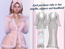 Lunar - Nite Robe & Slippers & Headband - Grey
