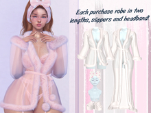 Lunar - Nite Robe & Slippers & Headband - White