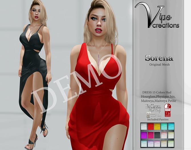 [Vips Creations] - DEMO - Original Mesh Dress - [Sorena]FITTED-Female Gown Dress