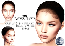 ♚Angel Eyes♚ CURLY 3 Hairbase GENUS Black&White BOM