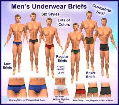 Second Life Marketplace - Men's Brief Underwear Collection - A Complete  Selection of Low Briefs, Regular Briefs & Men's Boxer Briefs