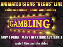 "Animated neonsign with bulbs: Vegas ""GAMBLING"""