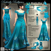 C&F 1890s Butterrfly Ball Gown Morpho Blue Outfit BUNDLE