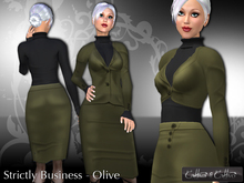 women's business suit, business outfit, formal !!Cattiva Strictly Business - Olive