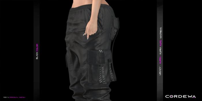 *CORDEWA* CARGO FEMALE PANTS BLACK