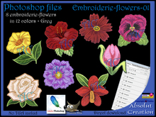 Photoshop flower embroidery 01