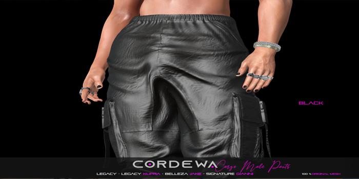 *CORDEWA* CARGO MALE PANTS BLACK
