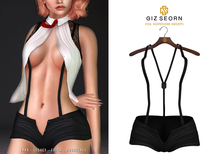 GIZ SEORN: Fox Suspender Shorts [Black]