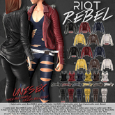 02. RIOT / REBEL Spiked Leather Jacket - Red - Maitreya - RARE