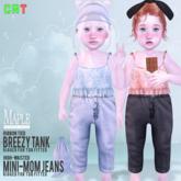 {m} high-waisted mini mom jeans: light blue
