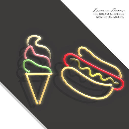 Halo . Kawaii Neon Signs . Ice Cream . Hotdog