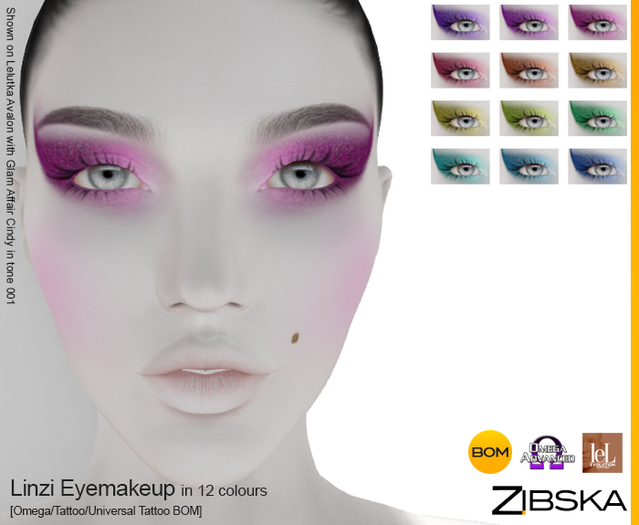 Zibska ~ Linzi Eyemakeup in 12 colors with Omega appliers, tattoo and universal tattoo BOM layers
