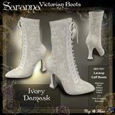 C&F Saranna Victorian Walking Boots Ivory Damask