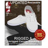 """UPDATED Classic Canvas Rigged & UNRIGGED """"Kens"""" Sneakers - WHITE"""