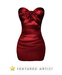 FASHION - Satin Mini Dress - Red