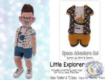 {SMK} Space Adventure Button Up Set | Little Explorer