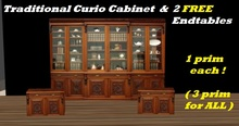 Traditional Curio Cabinet 1 prim    ( and 2 FREE end tables !)