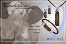 """Ms.O.Lei-ny™ """"Etched in Stone"""" (Greek """"s'agapo"""" in Greek characters) female set"""