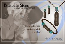 """Ms.O.Lei-ny™ """"Etched in Stone"""" (Tagalog """"mahal kita"""" in Baybayin characters) female set"""