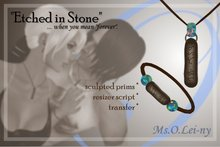 """Ms.O.Lei-ny™ """"Etched in Stone"""" (Tagalog """"mahal kita"""" in Baybayin characters) male set"""