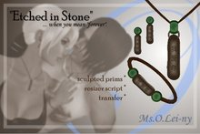 """Ms.O.Lei-ny™ """"Etched in Stone"""" (Chinese """"wo ai ni"""" in Chinese characters) female set"""
