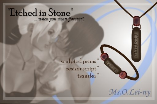 "Ms.O.Lei-ny™ ""Etched in Stone"" (Catalan ""t'estimo"") male set"