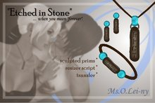 "Ms.O.Lei-ny™ ""Etched in Stone"" (Cherokee/Tsalagi ""tsi ge yu i"" in Cherokee characters) female set"
