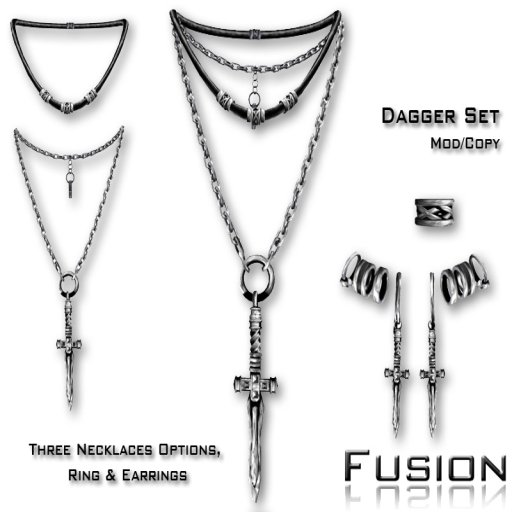 :Fusion: Dagger Necklace, Earrings & Ring set