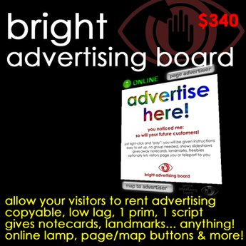 Bright Advertising Board - Rentable advertising board with online indicator, pager buttons, and more!