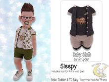 {SMK} Baby Sloth | Button Up Set | Sleepy