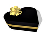 Heart Gift Box (black and gold) with gift bow - wrap your gift with a quality gift box