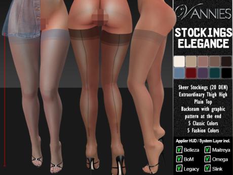 [VANNIES] Stockings Elegance (Applier HUD + BoM) (Belleza, Legacy, Maitreya, Slink, Omega + Classic Avatar)