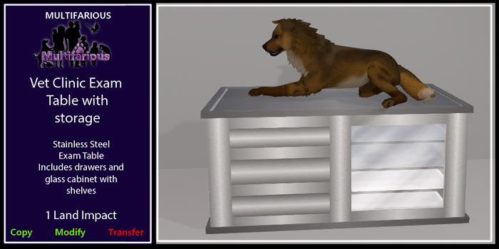 *M* Vet Clinic Exam Table With Storage [wear to unpacl]