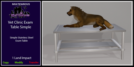 *M* Vet Clinic Exam Table Simple [wear to unpacl]