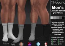 VANNIES MEN Casual Socks grey black (Applier HUD + BoM) (Belleza, Legacy, Signature, Slink and Omega)